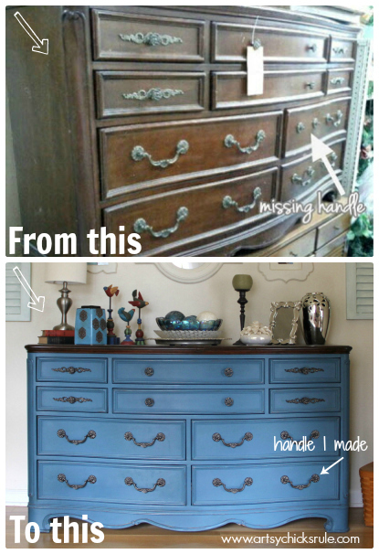 Aubusson Blue Dresser Plus Missing Handle I Made to Match