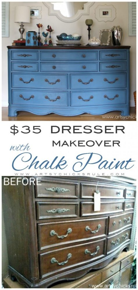 Chalk Paint Re-do!! LOVE This color!! artsychicksrule.com #chalkpaint #aubussonblue #dressermakeover #paintedfurniture #bluefurniture #bluedresser