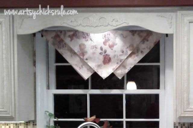 Kitchen before-Inexpensive window treatment- 3 napkins over a rod. artsychicksrule.com