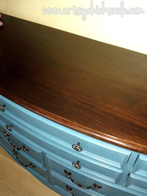 Aubusson Blue Dresser, Walnut Top artsychicksrule.com
