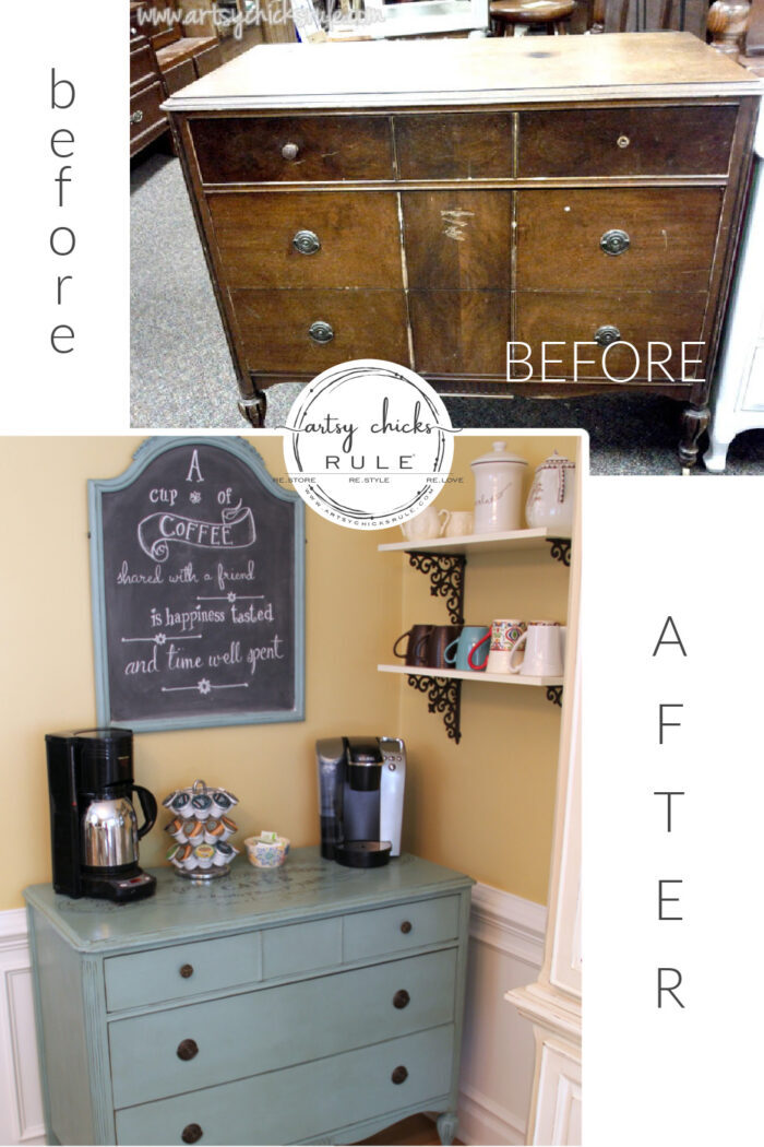 Ever thought of turning a dresser into a coffee server? You can! artsychicksrule.com