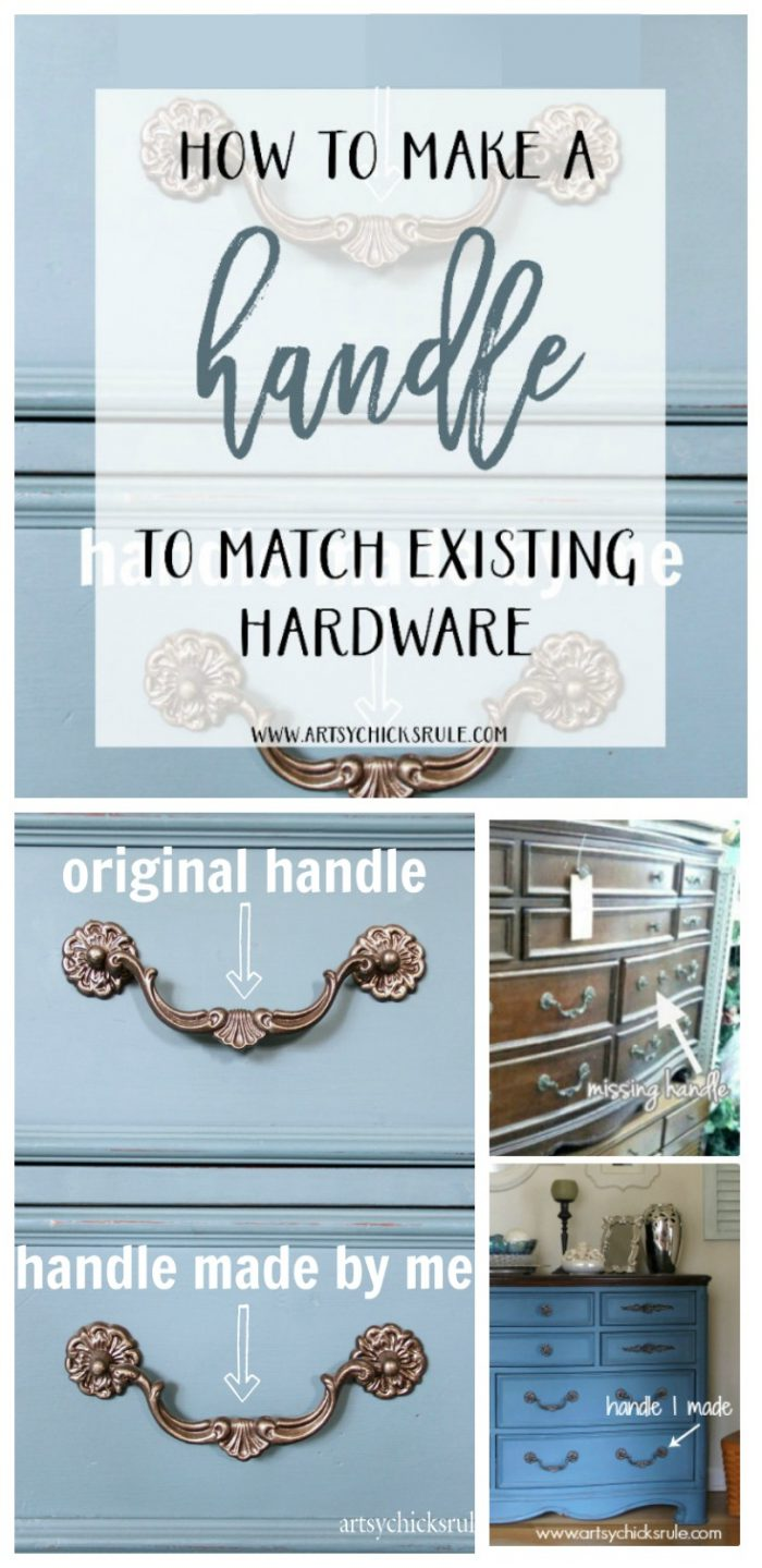 Missing Hardware or a Handle? Don't buy new, make one to match!!! It's SIMPLE! artsychicksrule.com #missinghardware #missinghandle #makeahandle
