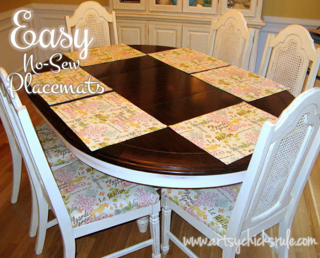 Easy No Sew Placemats- artsychicksrule.com