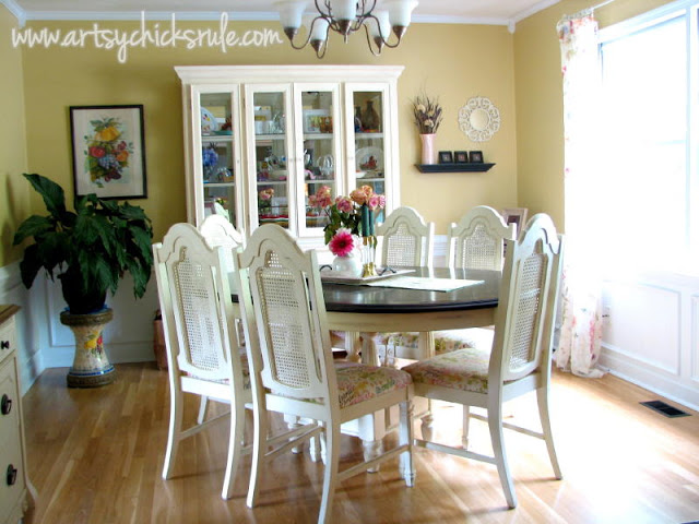 Dining Room (semi before) with caned back chairs - artsychicksrule.com #nosew