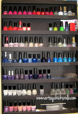 Great inexpensive DIY nail polish display/organizer-artsychicksrule.com
