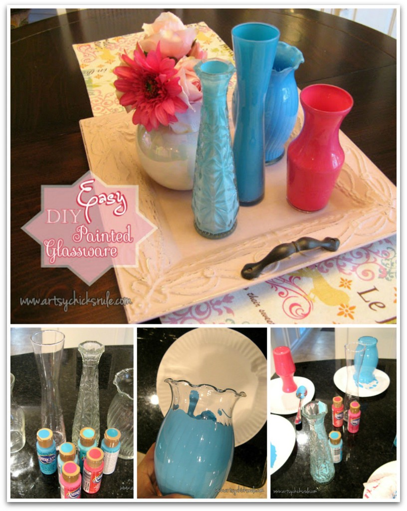 Boring clear glass vases to colorful home decor with a little thrifted glasswareinted with acrylic craft paint for an easy and inexpensive splash reviewsmspy