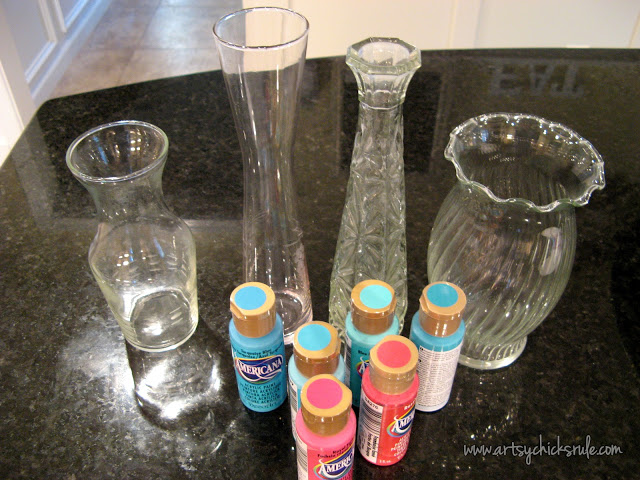 Thrifty, fun & colorful craft idea!! Great way to add color to your home too! Turn old glass vases to colorful home decor! artsychicksrule.com #paintedglass #craftpaintideas #thriftyprojects #thriftycraftideas #craftideas #colorfuldecor #thriftydecor #budgetdecor #craftpaint #thriftstoremakeover