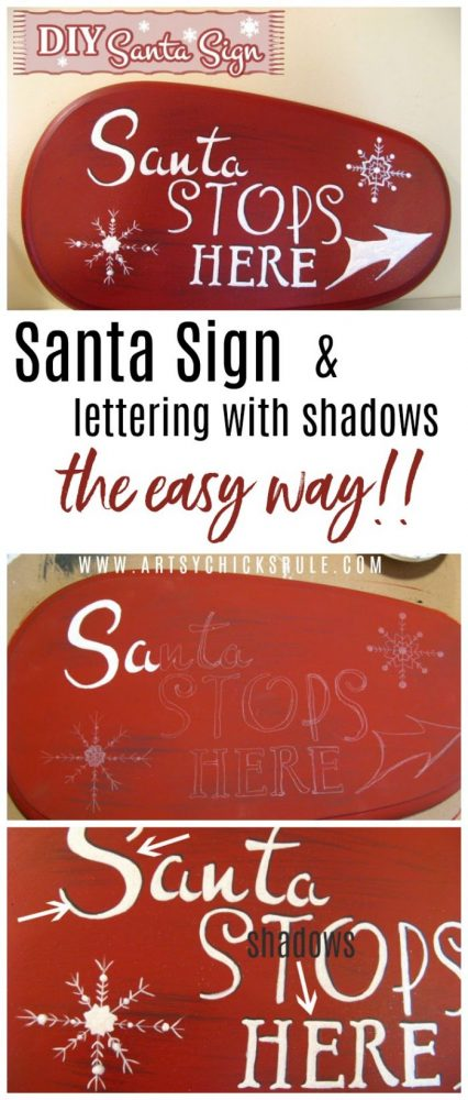 Easy Lettering and Shadow Technique! Santa's Coming To My House!! artsychicksrule.com