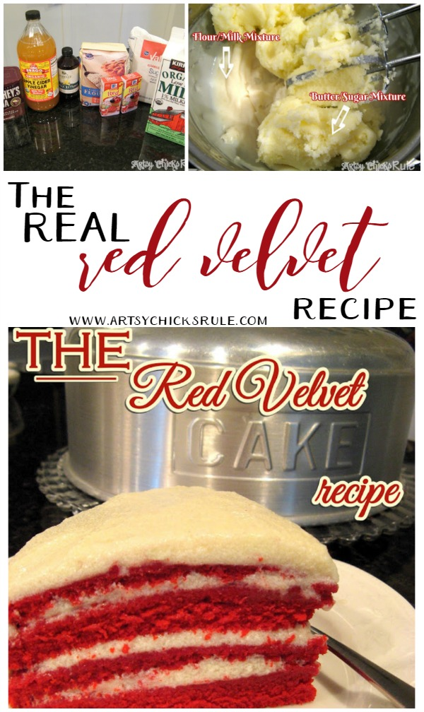 This is a MUST try!! Not like everything else out there!! LOVE this one! The REAL Red Velvet Cake Recipe (the secrets in the frosting!) artsychicksrule.com #redvelvet #redvelvetcake