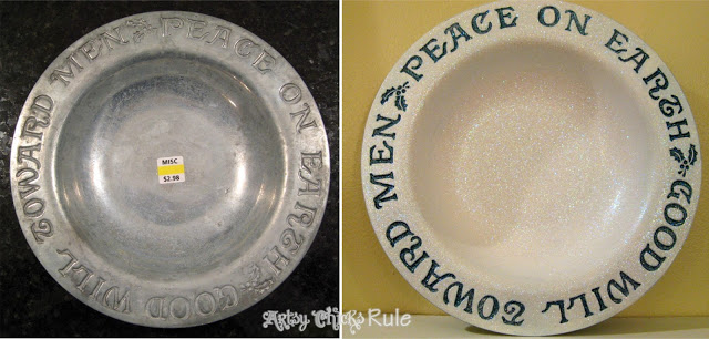 Thrifty Holiday Platter before and after - #diy #paint #glitter artsychicksrule.com