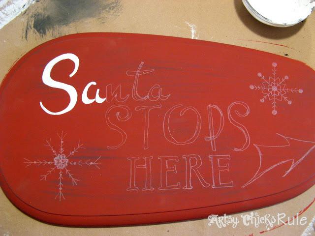 DIY Santa Sign - Artsy Chicks Rule