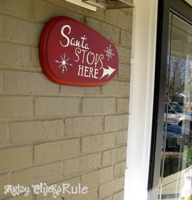 Santa Stops Here - DIY  Sign - artsychicksrule.com #santa #Christmas #holidaydecor