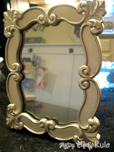 Looking Glass Spray Paint -Glass Picture Frame Turned to Mirror-Artsy Chicks Rule