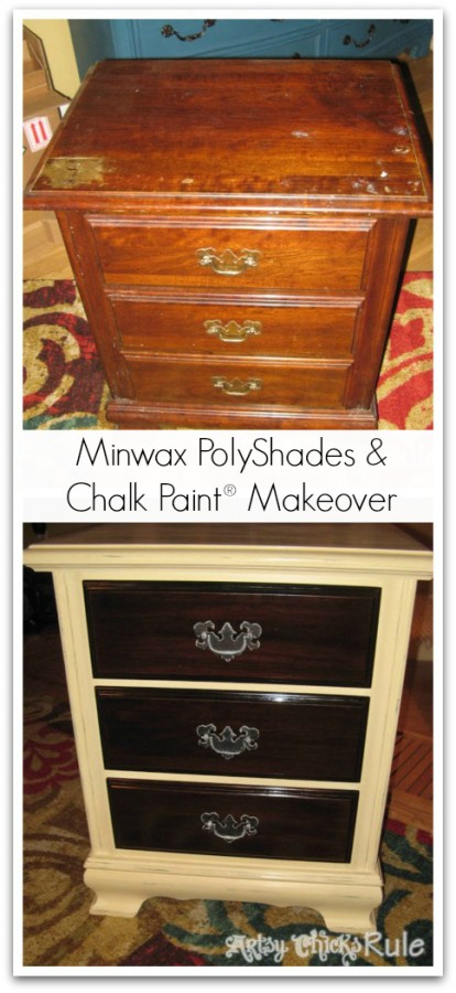 Dresser-before-and-after-Minwax-Polyshades-and-Annie-Sloan-Chalk-Paint- artsychicksrule.com #polyshades #chalkpaint #updatewood