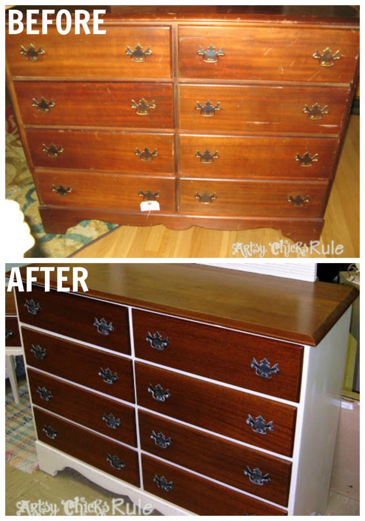 Mahogany Dresser Makeover artsychicksrule.com #mahoganydresser #mahoganyfurniture #paintedfurniture