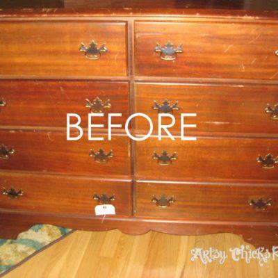 Mahogany Thrift Store Dresser…Old & Worn to Vibrant & Renewed!