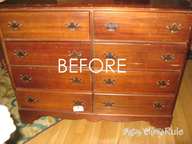 A little paint and a little stain...BEAUTY!!! Mahogany Dresser artsychicksrule.com #mahoganydresser #mahoganyfurniture #paintedfurniture
