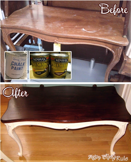 Thrift Store Table Transformed with Annie Sloan Chalk Paint & Minwax PolyShades- artsychicksrule.com #polyshades #chalkpaint #updatewood