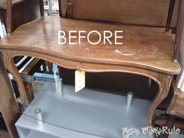 Makeover with PolyShades & Chalk Paint!! Old Thrift Store Coffee Table artsychicksrule.com #polyshades #chalkpaint #updatewood