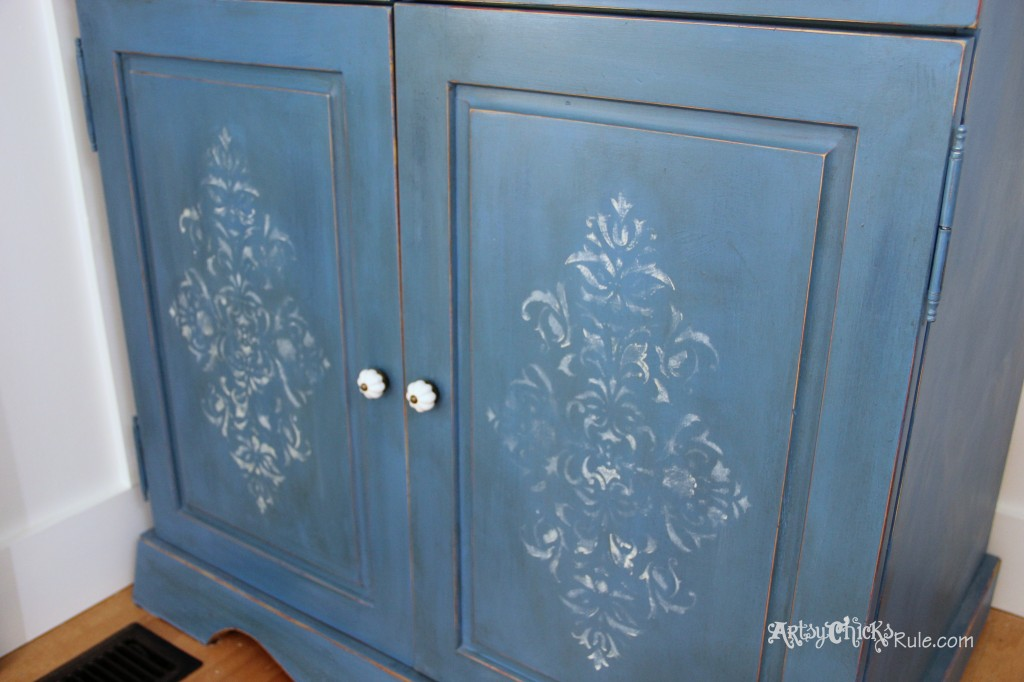 EASY Aged Look with 3 Paints & 2 Waxes! Armoire transformed! artsychicksrule.com #agedfinish #chalkpaintfurniture #bluefurniture