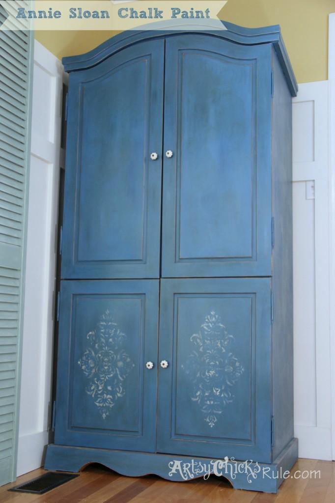 Annie Sloan Chalk Painted Blue Armoire