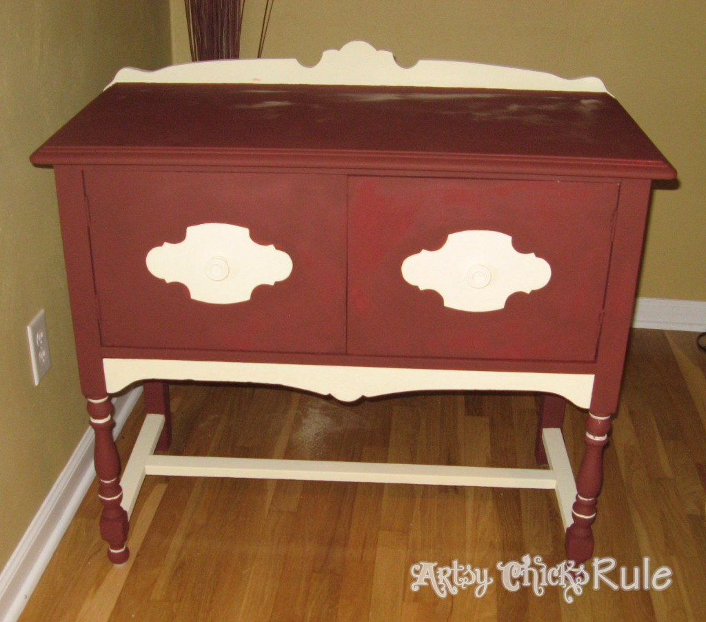 Chalk Paint Graphics....Transforms This Old Piece!! artsychicksrule.com #chalkpaintgraphics #chalkpaint #graphics #furnituremakeover #chalkpaintedfurniture #anniesloan