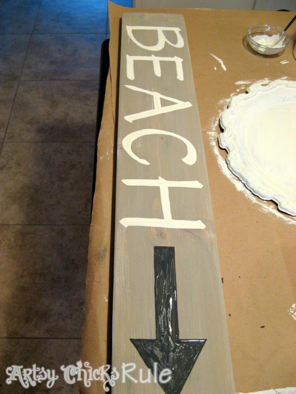 Faux Driftwood Beach Sign Tutorial - artsychicksrule.com #beachsign #fauxdriftwood #driftwoodfinish #diybeachsign