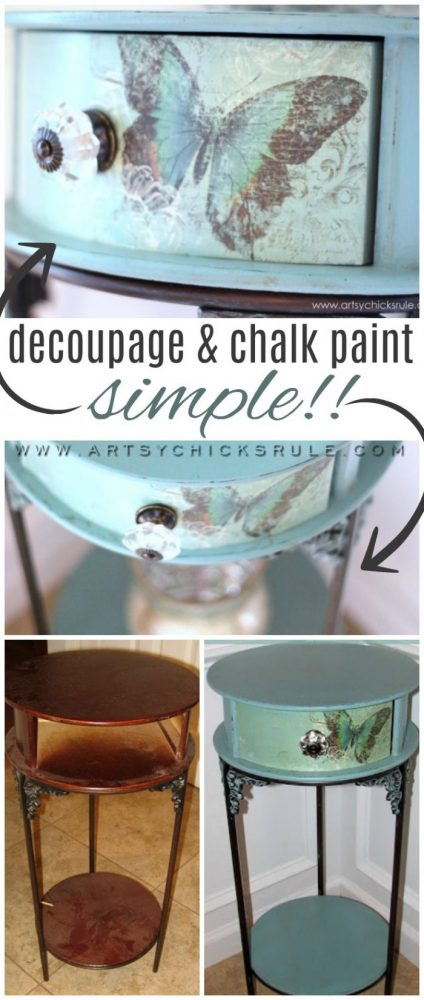 Easy DECOUPAGE!! (with Chalk Paint) artsychicksrule.com #decoupage #chalkpaintedfurniture #provencechalkpaint
