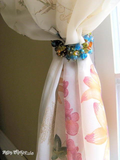 "Cool Use for Napkin Rings-Drapery ""Hold-Backs"" - artsychicksrule.com #holdbacks #draperyholdbacks #napkinrings"
