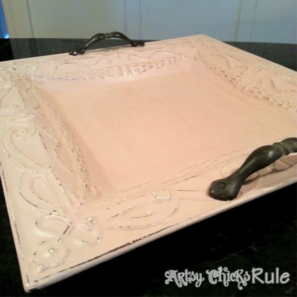 Antionette Pink Chalk Paint / Thrifty Metal Tray / Artsy Chicks Rule