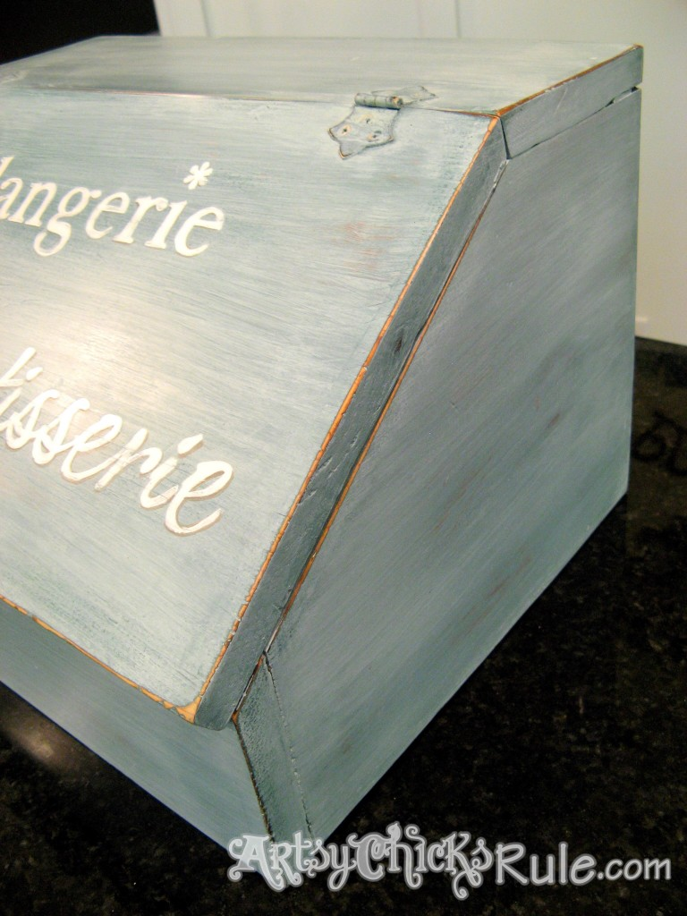 Bread Box Makeover Before-After Tutorial / Miss Mustard Seed Milk Paint artsychicksrule.com #breadboxmakeover #breadbox #milkpaint #frenchgraphics