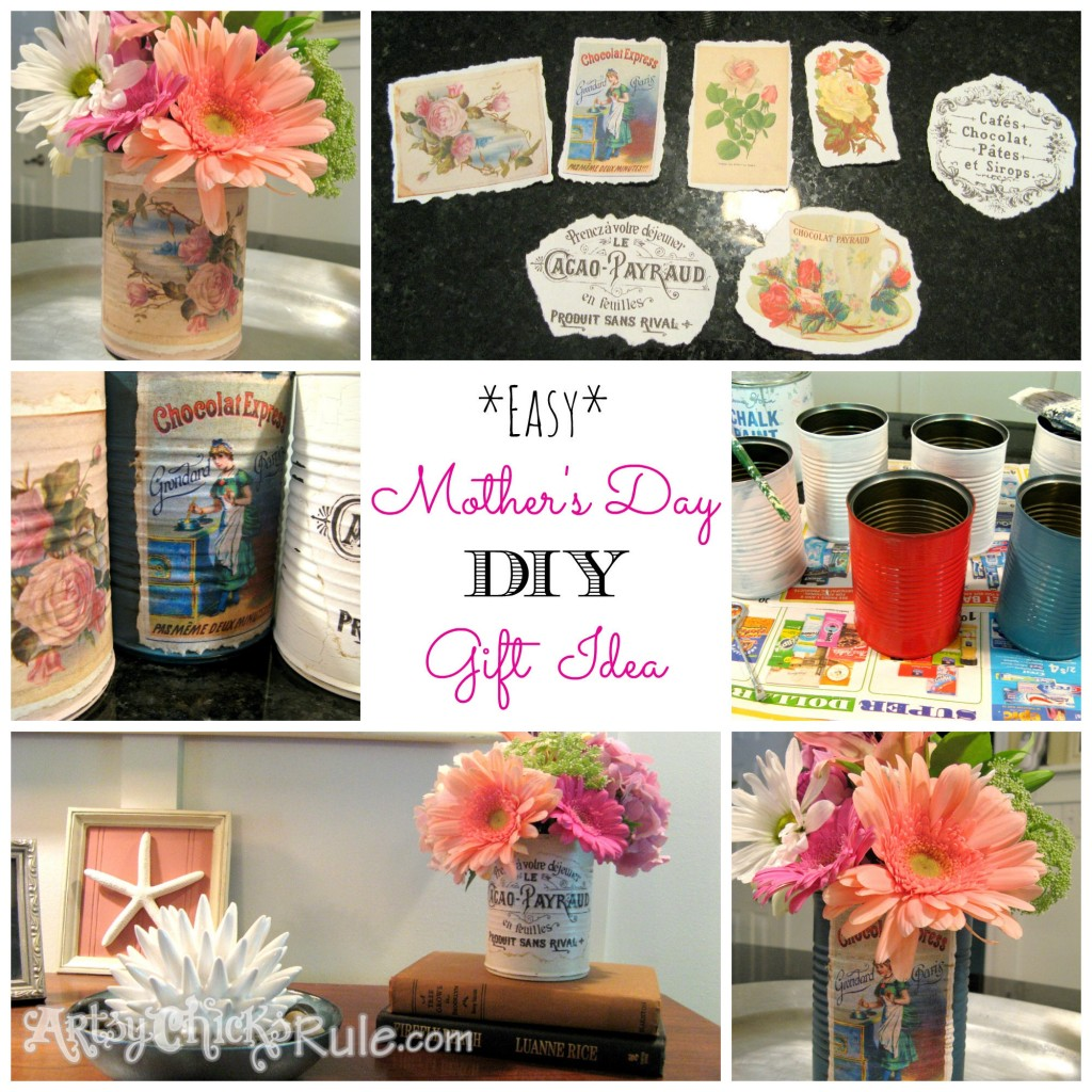 DIY Decorative Handmade Tin Can Craft Collage using Graphic's Fairy graphics - Mother's Day Flowers or Centerpiece