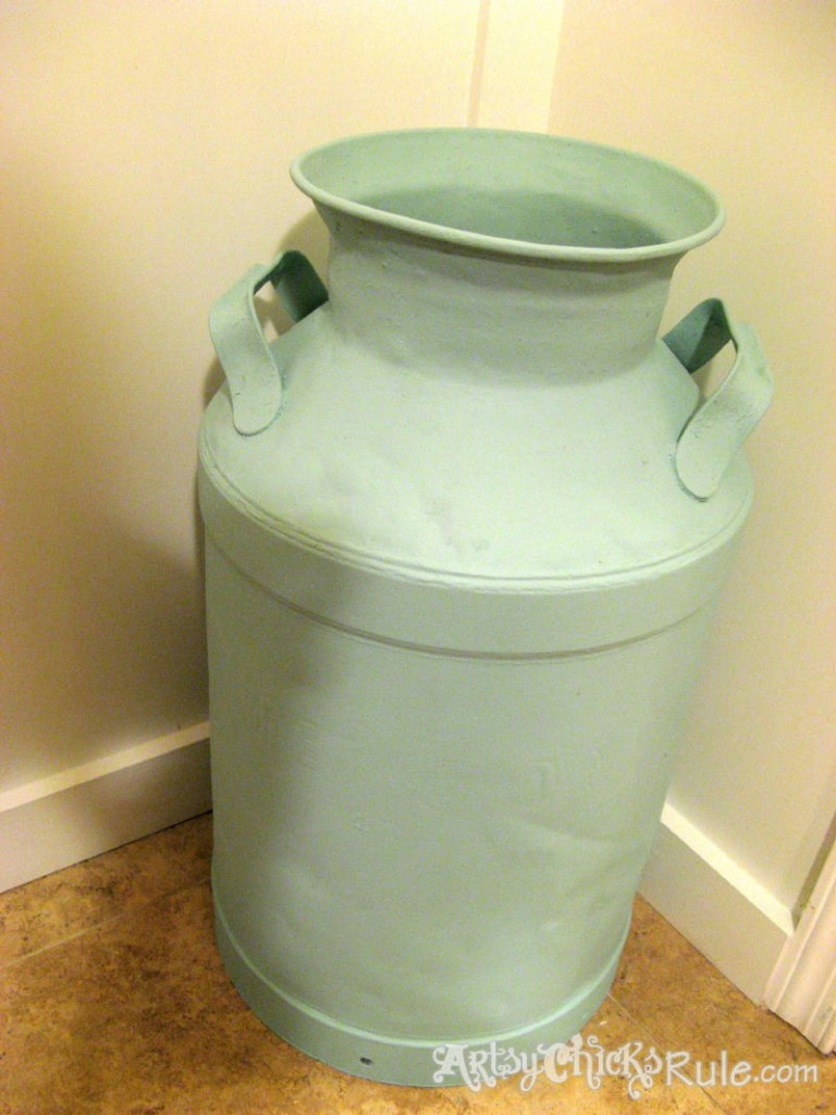 Milk Can Redo with Graphics-First Coat Teal-Latex - artsychicksrule.com #milkcan #paintedmilkcan