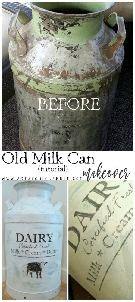 Old Milk Can Makeover TUTORIAL!!! - artsychicksrule.com #milkcan #paintedmilkcan