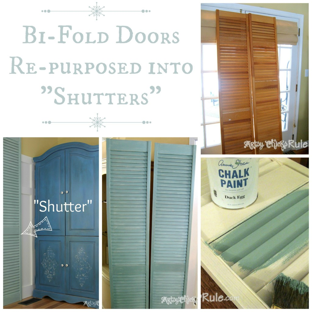 Repurposed Bi Fold Doors Into Shutters Duck Egg Blue Chalk Paint    Artsychicksrule.