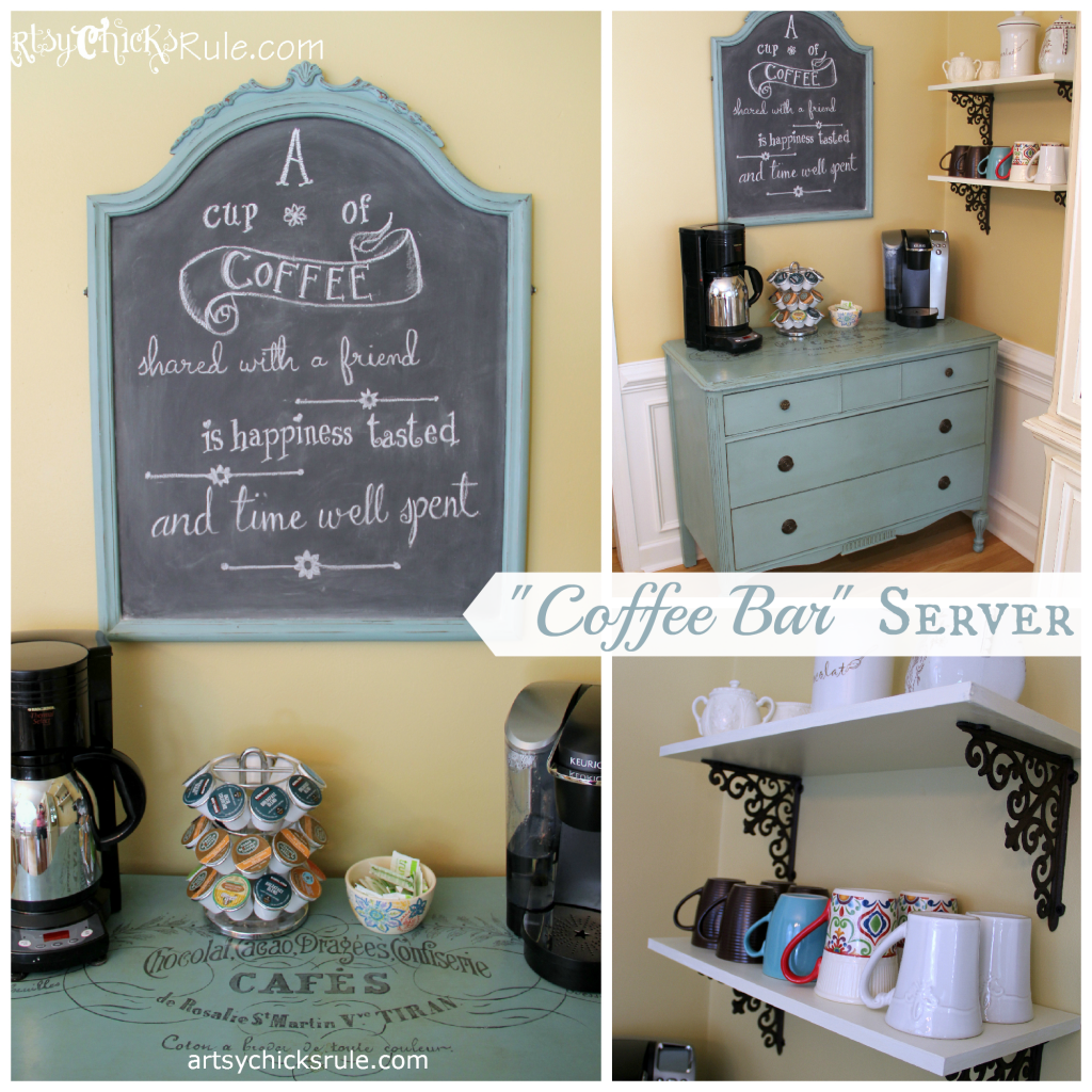 Coffee Bar Station (Annie Sloan Chalk Paint) with Shelves