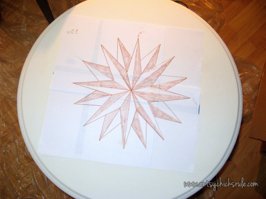 Create THIS Compass Rose in 3 EASY Steps!! Compass Rose Tables artsychicksrule.com #compassrosetutorial #compassrose #compassrosefurniture #nauticaldecor #coastaldecor #artsychicksrule