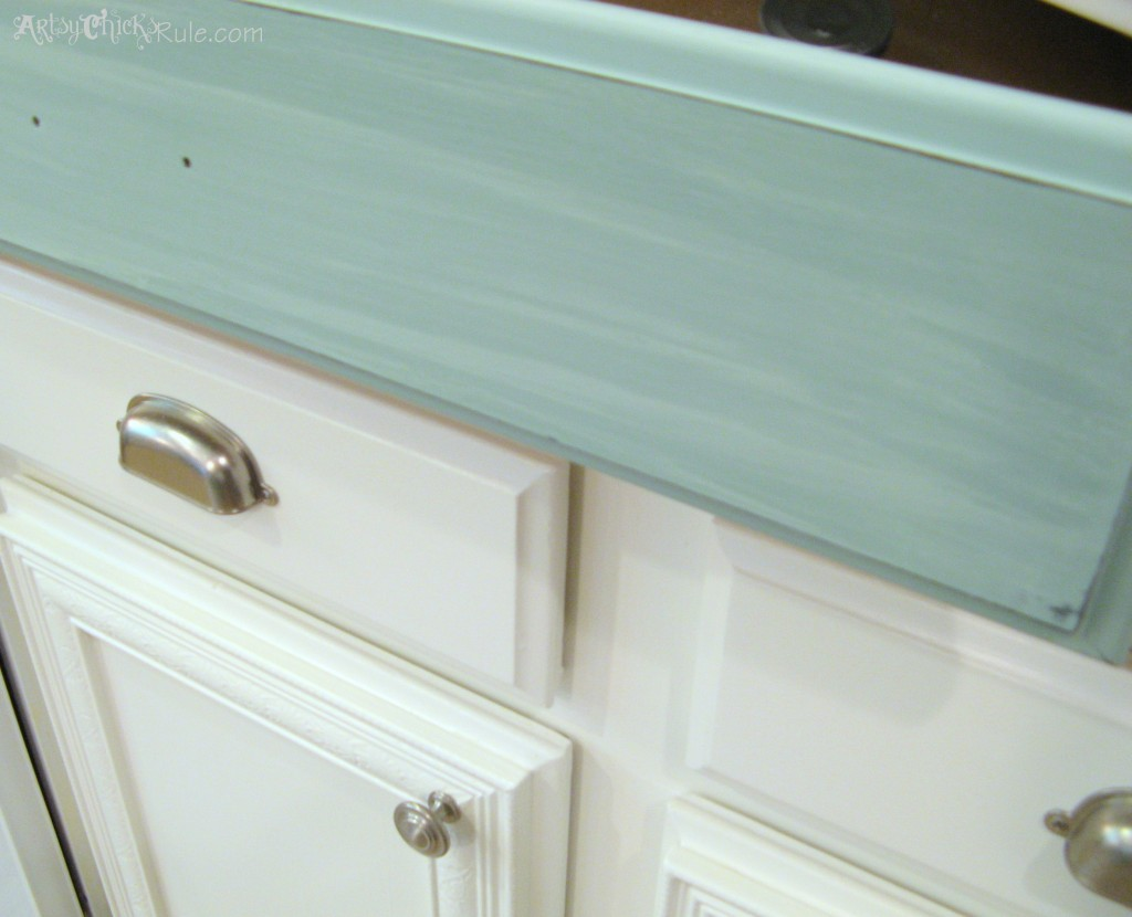 Kitchen Island Makeover - The EASY Way!! - artsychicksrule.com #chalkpaint #duckeggblue #kitchenmakeover #kitchenisland #islandideas #paintedislands #paintedfurniture