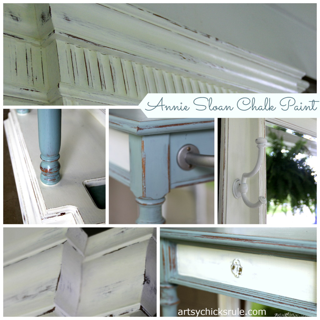 Hall Tree Details - Annie Sloan Chalk Paint - Duck Egg Blue- artsychicksrule.com #halltree #chalkpaint #duckeggblue