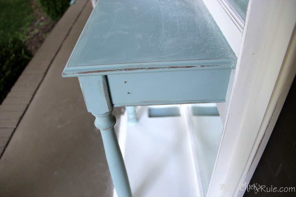 Hall Tree for Porch Distressed(Annie Sloan Chalk Paint - Duck Egg Blue)- artsychicksrule.com #halltree #chalkpaint #duckeggblue