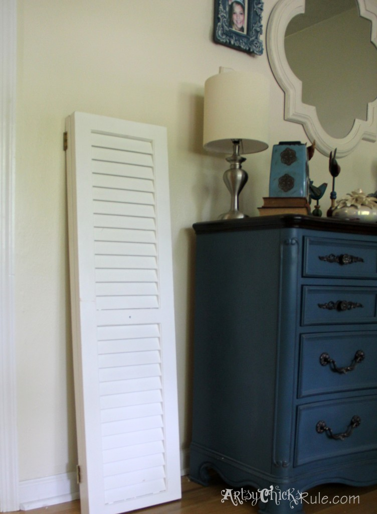 Repurposed Bi-fold Doors into Shutters-Duck Egg Blue Chalk Paint - artsychicksrule.com #cottagedecor #bifolddoors #bifolddoorsrepurposed #diyshutters #repurposedprojects #duckeggblue