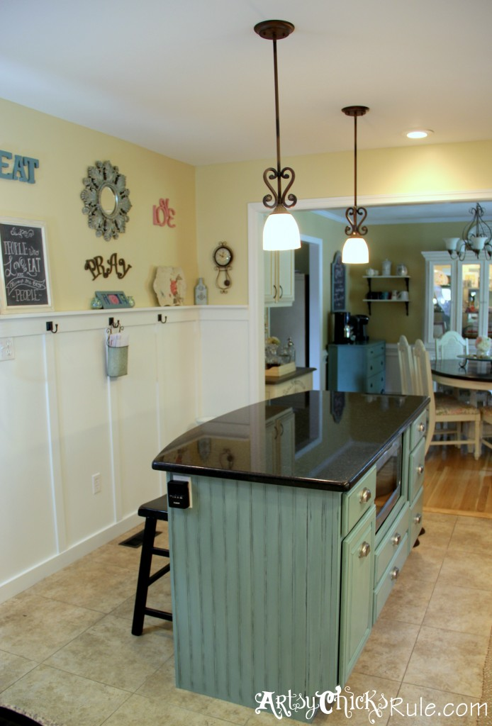 Kitchen Island Makeover - Duck Egg Blue Chalk Paint - Artsy Chicks Rule®
