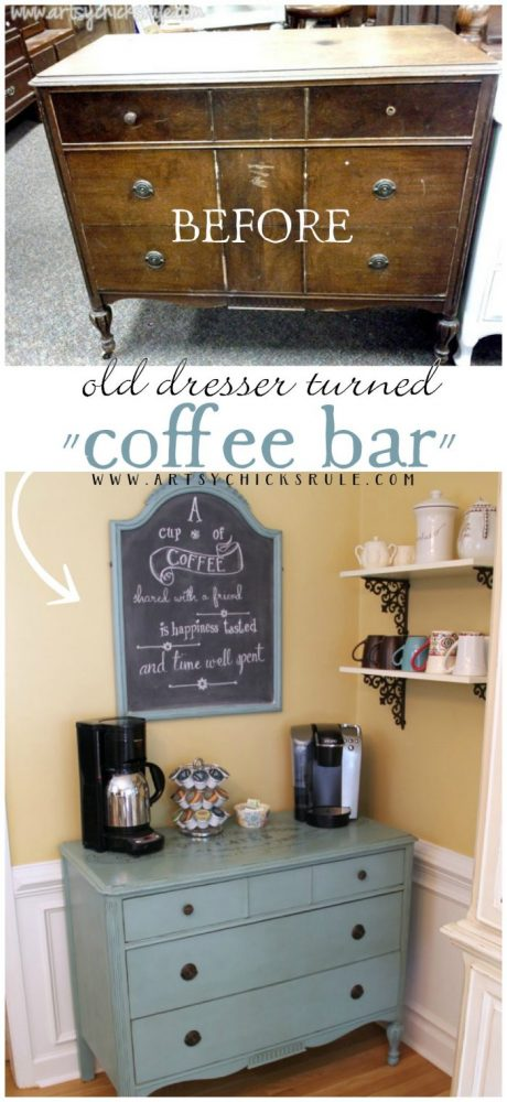 DIY Coffee Bar out of old, antique dresser! Great idea! artsychicksrule.com #coffeebar #coffeestation
