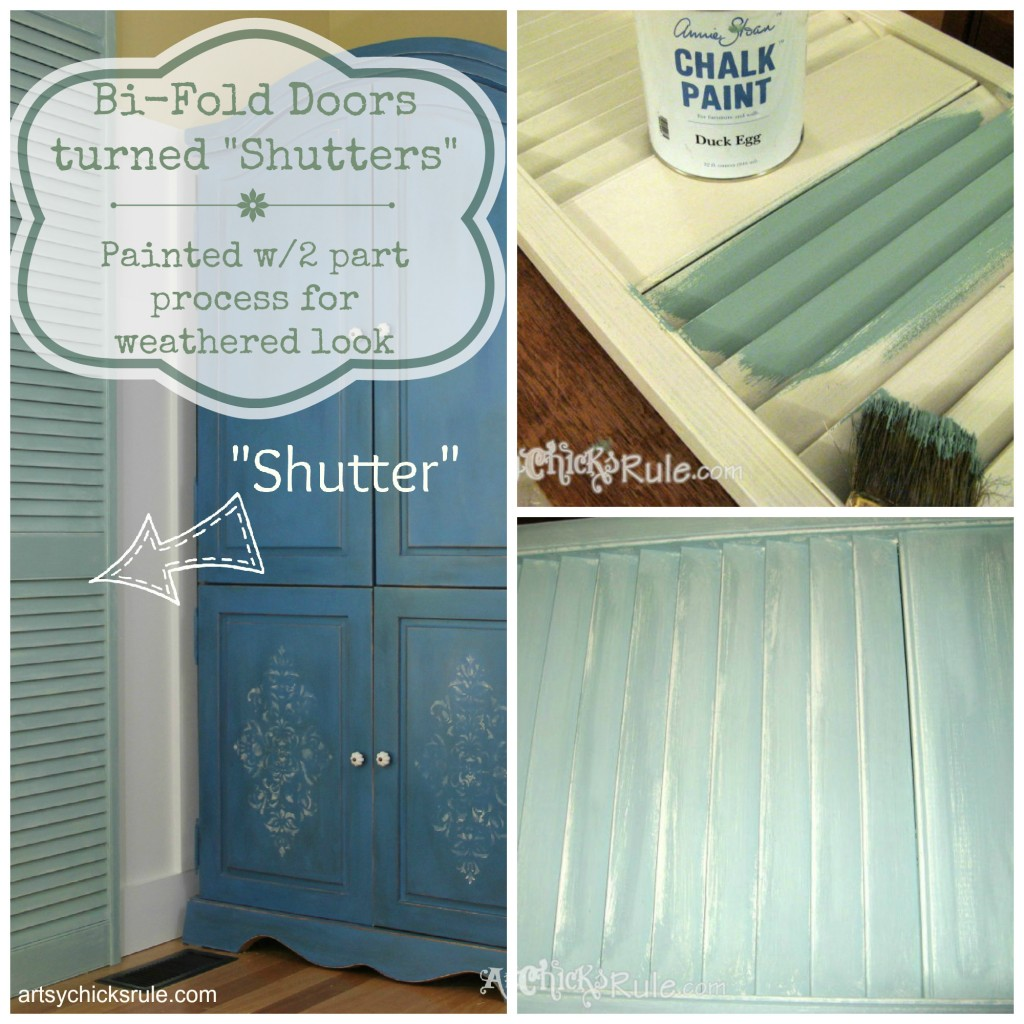 Repurposed Bi Fold Door turned Shutter - EASY 2 part paint process for weathered look