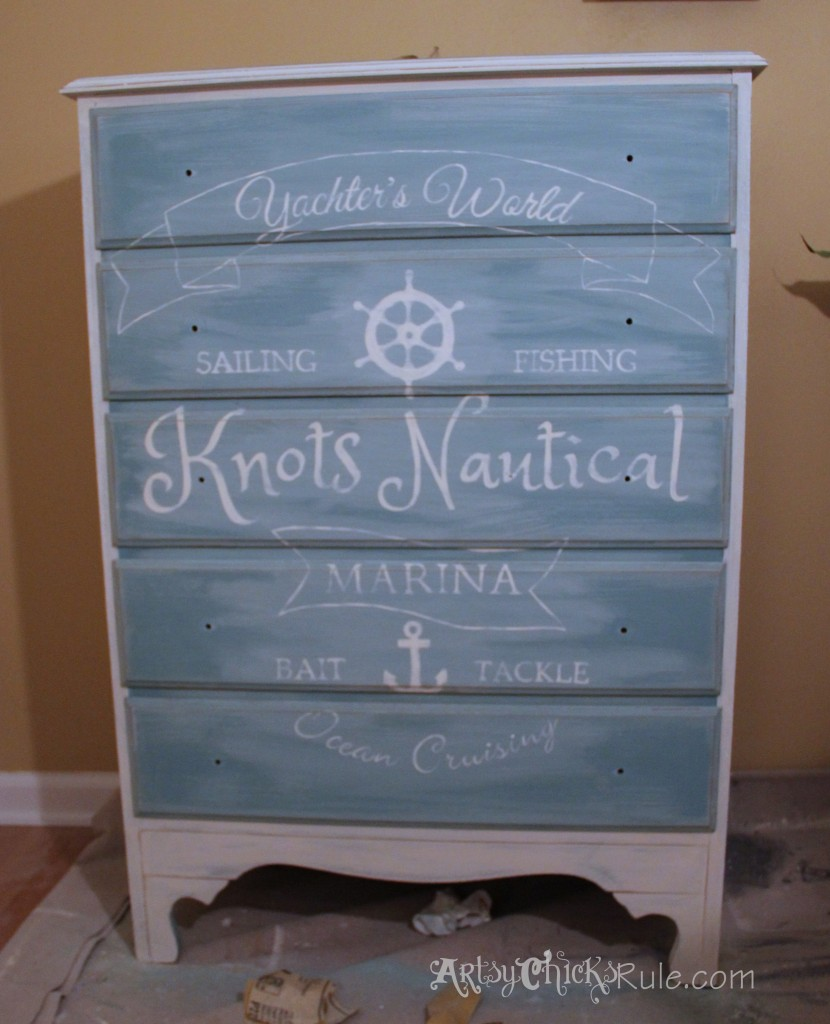 Coastal Themed Chest With Custom Graphics & Chalk Paint!! artsychicksrule.com Old White Pure White Chalk Paint Blend with Provence - Sanded and Distressed