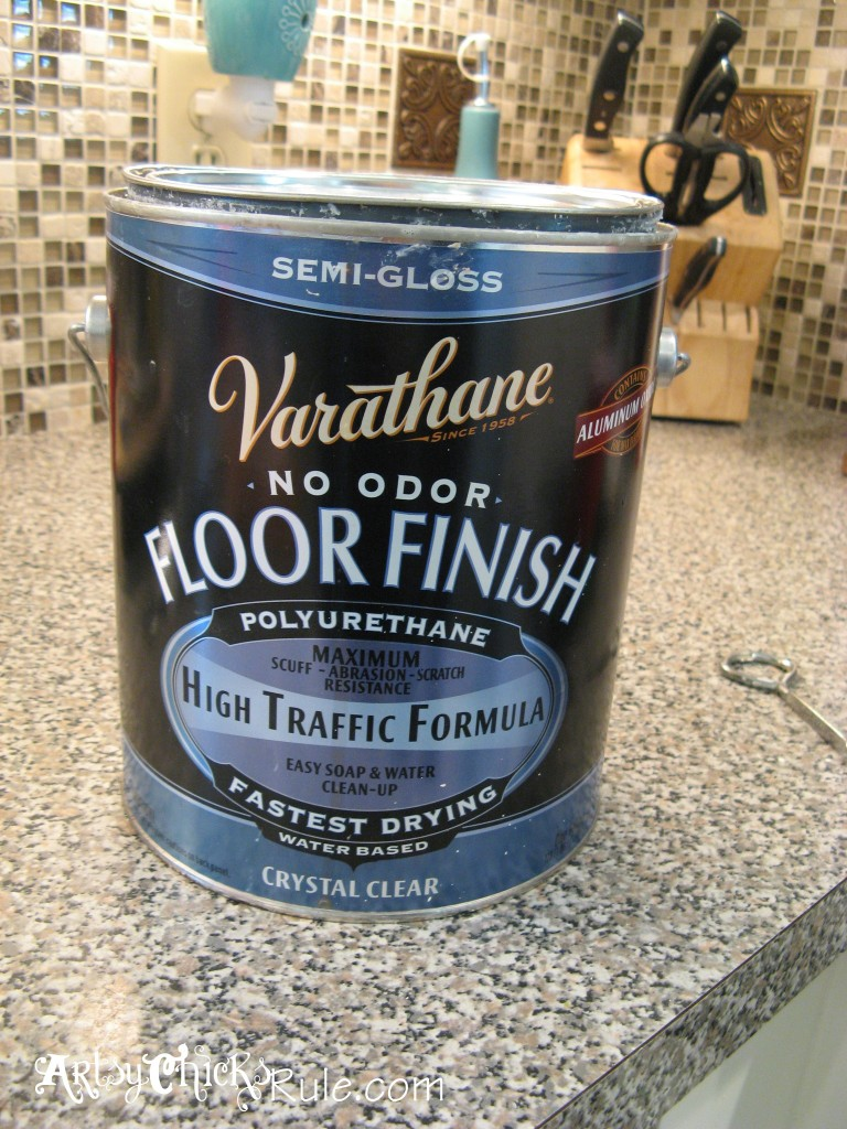 Kitchen Island Makeover - The EASY Way!! - artsychicksrule.com #chalkpaint #duckeggblue #kitchenmakeover #kitchenisland #islandideas #paintedislands #paintedfurniture #sealer #varathane