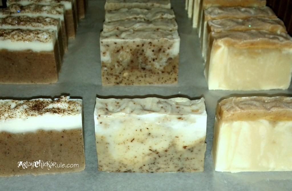 Cut Bars of Natural Soap Curing - Soap Making - artsychicksrule.com #soapmaking #coldprocesssoap #naturalsoap #handmadesoap #homemadesoap #soaptutorial #diysoap