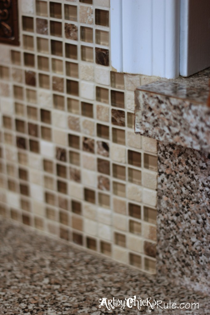 Kitchen Tile Backsplash-Ending Edge- artsychicksrule.com #backsplash #tile #diy