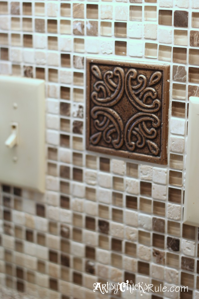 Kitchen Tile Backsplash-Finished Tile with Medallian- artsychicksrule.com #backsplash #tile #diy