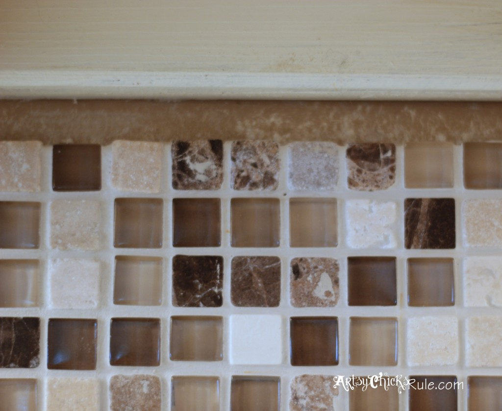Kitchen Tile Backsplash-Top Edge- artsychicksrule.com #backsplash #tile #diy